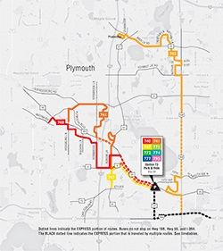 Plymouth Metrolink Reverse Commute Map