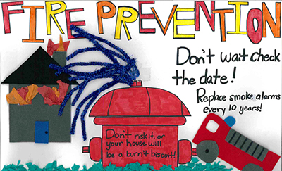 Kylee Wooten's grand-prize winning Fire Prevention Poster Contest entry.