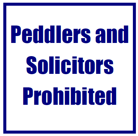 Peddlers and solicitors prohibited sign