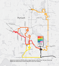 Plymouth Metrolink Systemwide Reverse Commute Map PDF