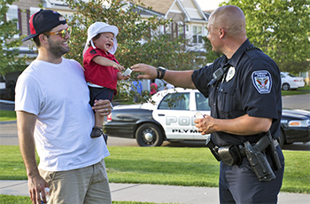 Plymouth police officers engaging with the community