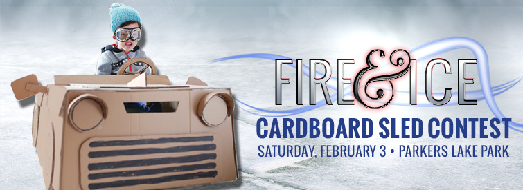 Fire & Ice Cardboard Sled Contest in Plymouth