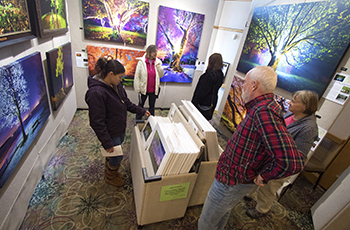 Plymouth Arts Fair visitors viewing colorful painted canvases depicting trees and landscape settings