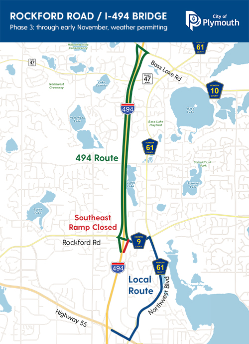 The southeast ramp (the ramp from northbound I-494 to Rockford Road) will be closed through early November, weather permitting. Motorists should follow the posted detour route – continue north on I-494, exit at Bass Lake Road, return southbound on I-494 and exit at Rockford Road.