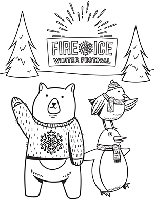 Fire & Ice Coloring Contest thumbnail image - bear and birds in the woods