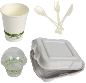 Compostable cups, cutlery and food boxes