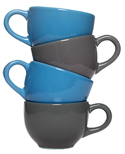 Stacked blue and grey coffee mugs