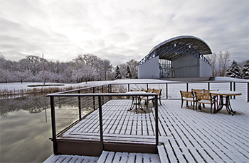 Winter snow at the Hilde Performance Center in Plymouth, MN