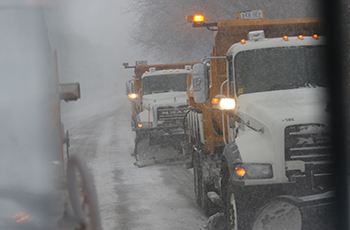 Snow plows clearing streets in Plymouth, MN