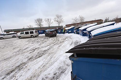 Plymouth Recycling Drop-Off Site in the winter