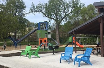New playground equipment and chairs installed in 2019 at East Medicine Lake Park