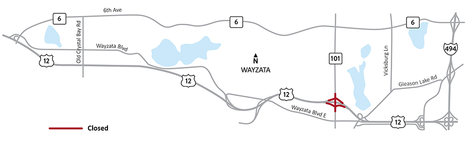County Road 101 (Central Avenue) bridge over Highway 12 construction map