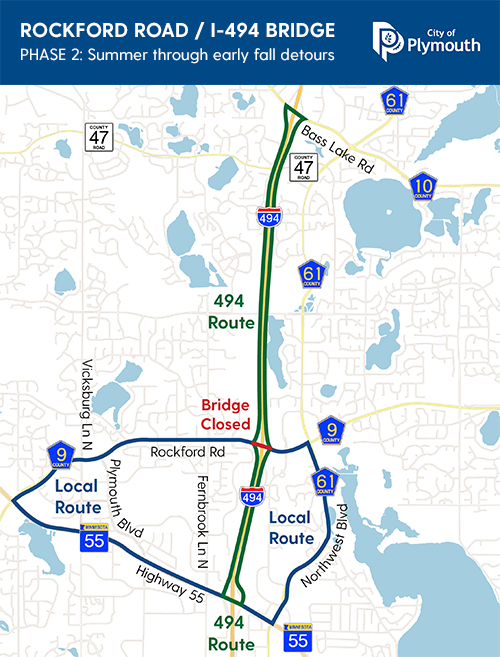 Map of the detour routes during Phase 2, which include I-494, Highway 55 and Bass Lake Road.