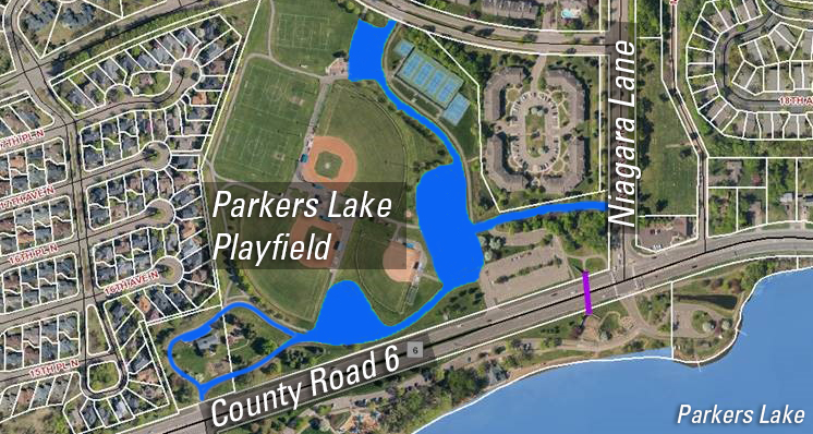 Parkers Lake Playfield parking lot repaving project map