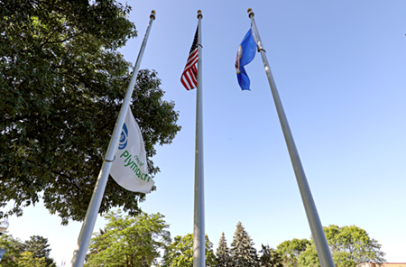 City of Plymouth flag flying at half-staff