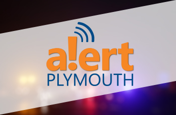 Alert Plymouth logo displayed over a blurred image of public safety or emergency response vehicles