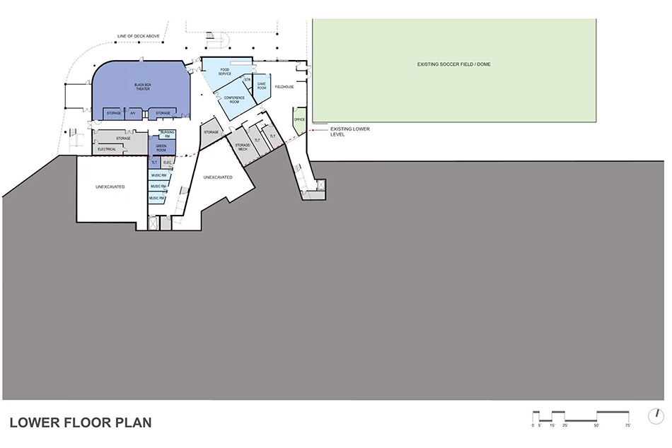 Plymouth Creek Center project preliminary design - lower level