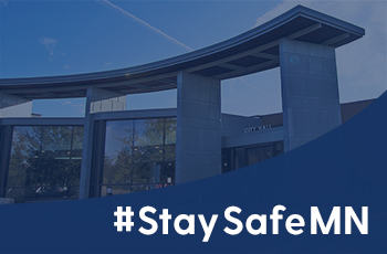 Stay Safe MN graphic showing Plymouth City Hall