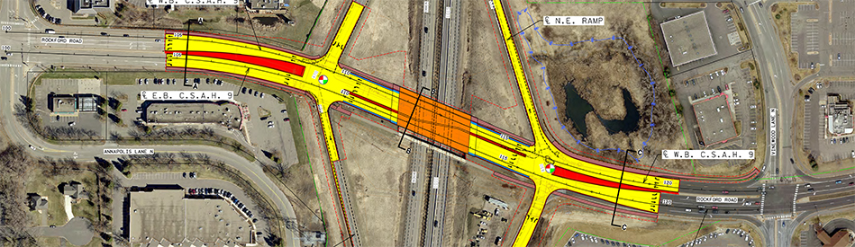 Proposed diamond interchange with dedicated left turn lanes