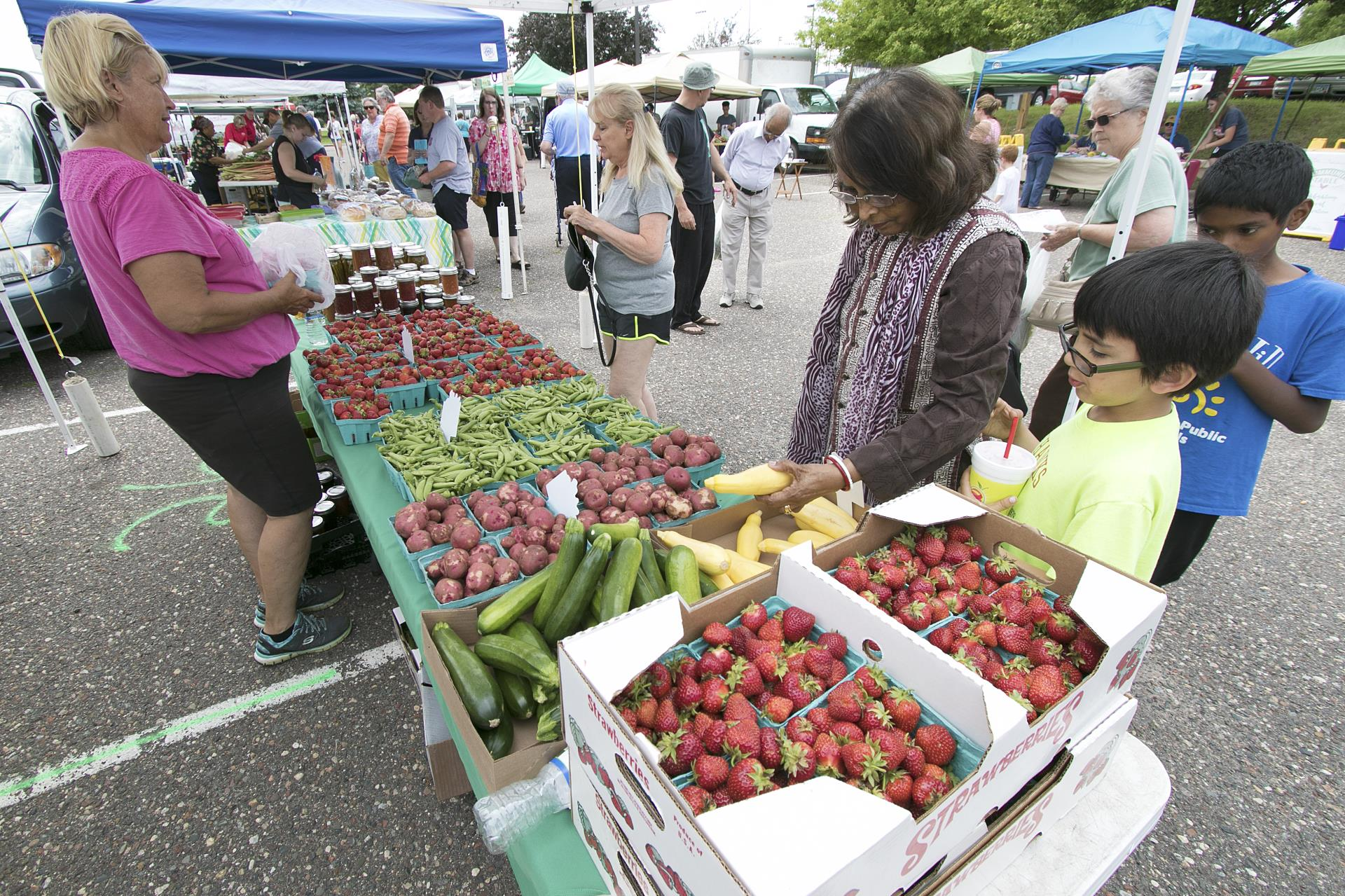 Families browsing produce tables at Plymouth's outdoor farmers market