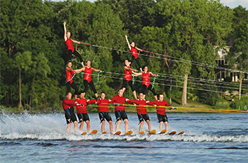 A pyramid of performers water skiing during the water ski show on Parkers Lake