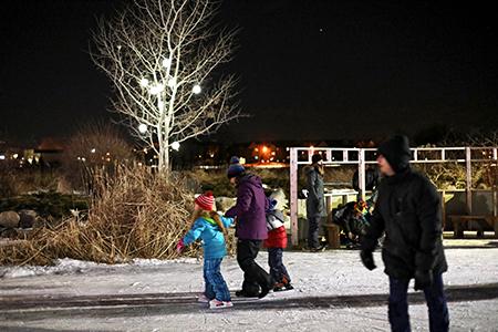 Families skating in the Millennium Garden