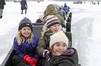 Children enjoying the train ride at Fire & Ice